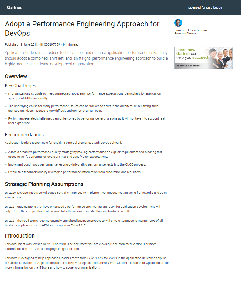 Gartner Research Report - Adopt a Performance Engineering Approach for DevOps